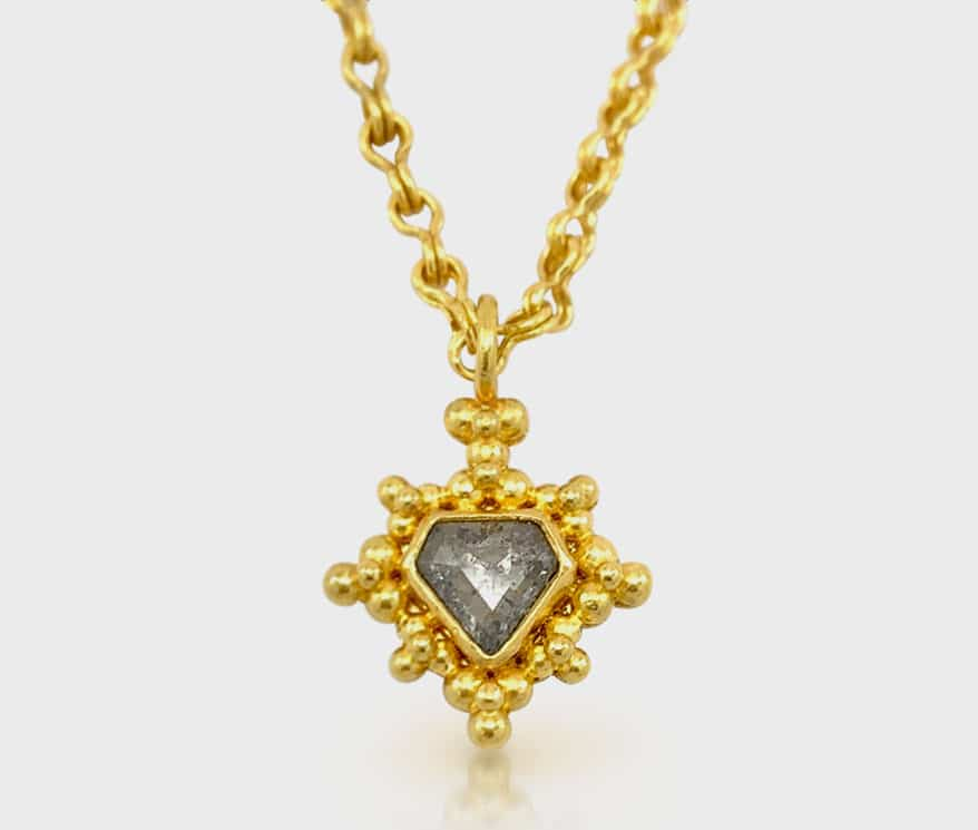 Linda Hoj 22K yellow gold necklace with gray rose cut diamond.