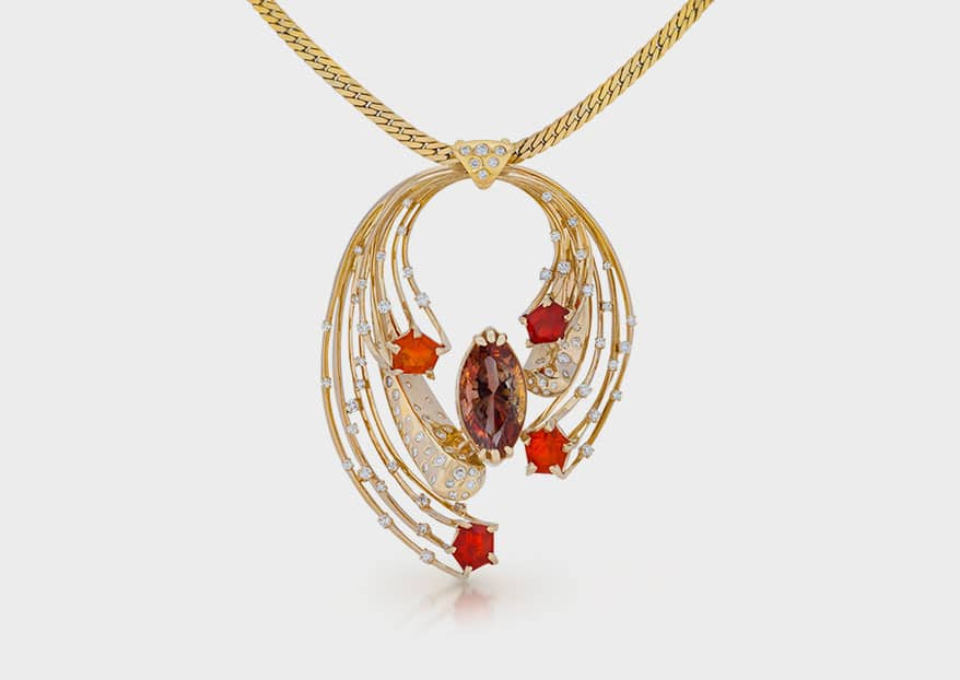 Martha Seely Design 14K yellow gold pendant necklace with Oregon sunstone, fire opals, and diamonds