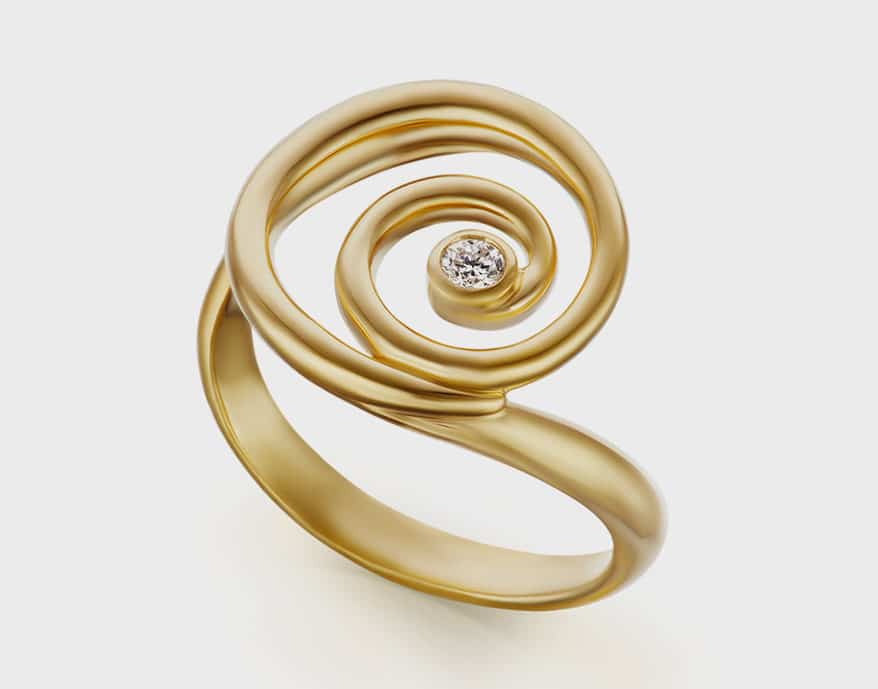 ARK Fine Jewelry 18K yellow gold ring with diamond.