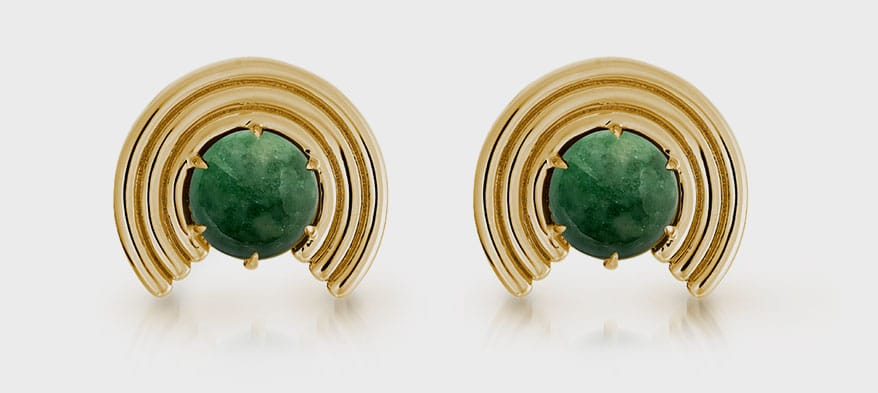 ParkFord 14K yellow gold earrings with jade.