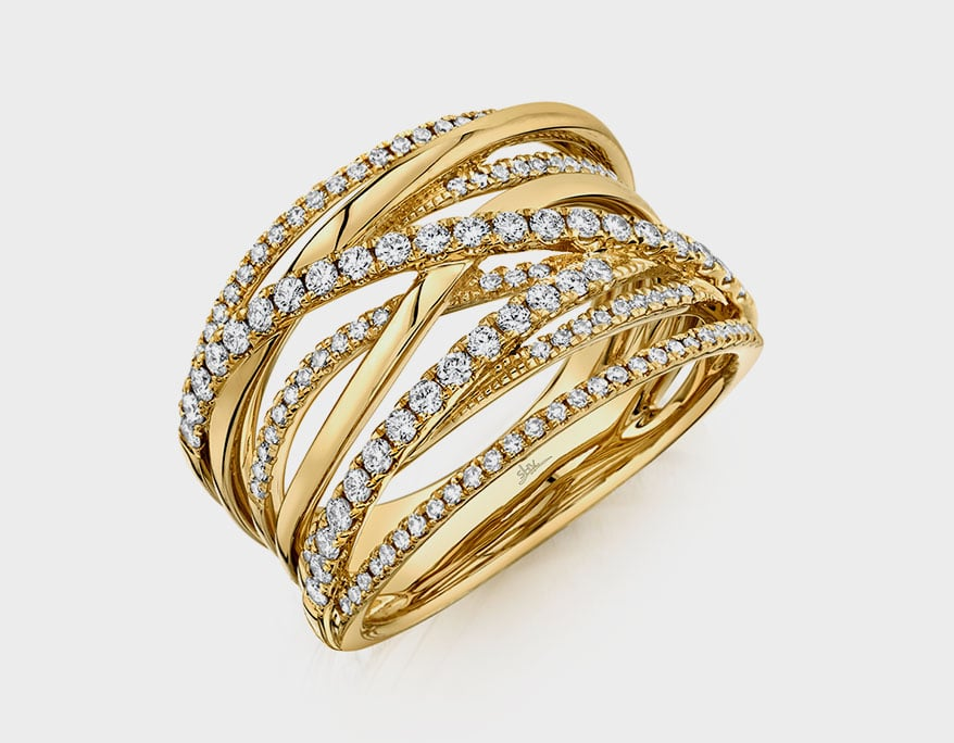 Shy Creation 14K yellow gold ring with diamonds