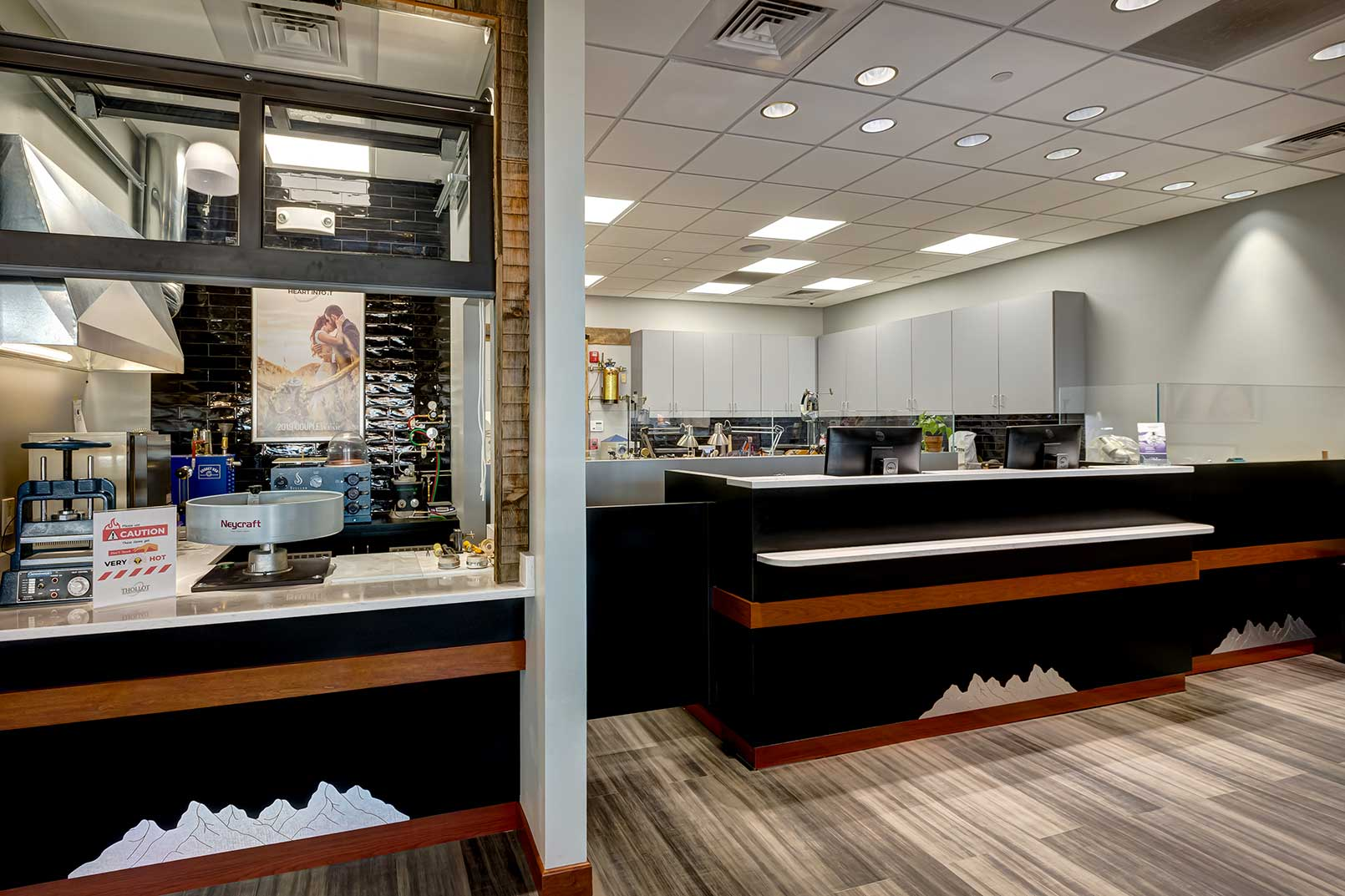 Thollot Jewelers, designed by Robert Dykman, invites customers to pour their own gold.
