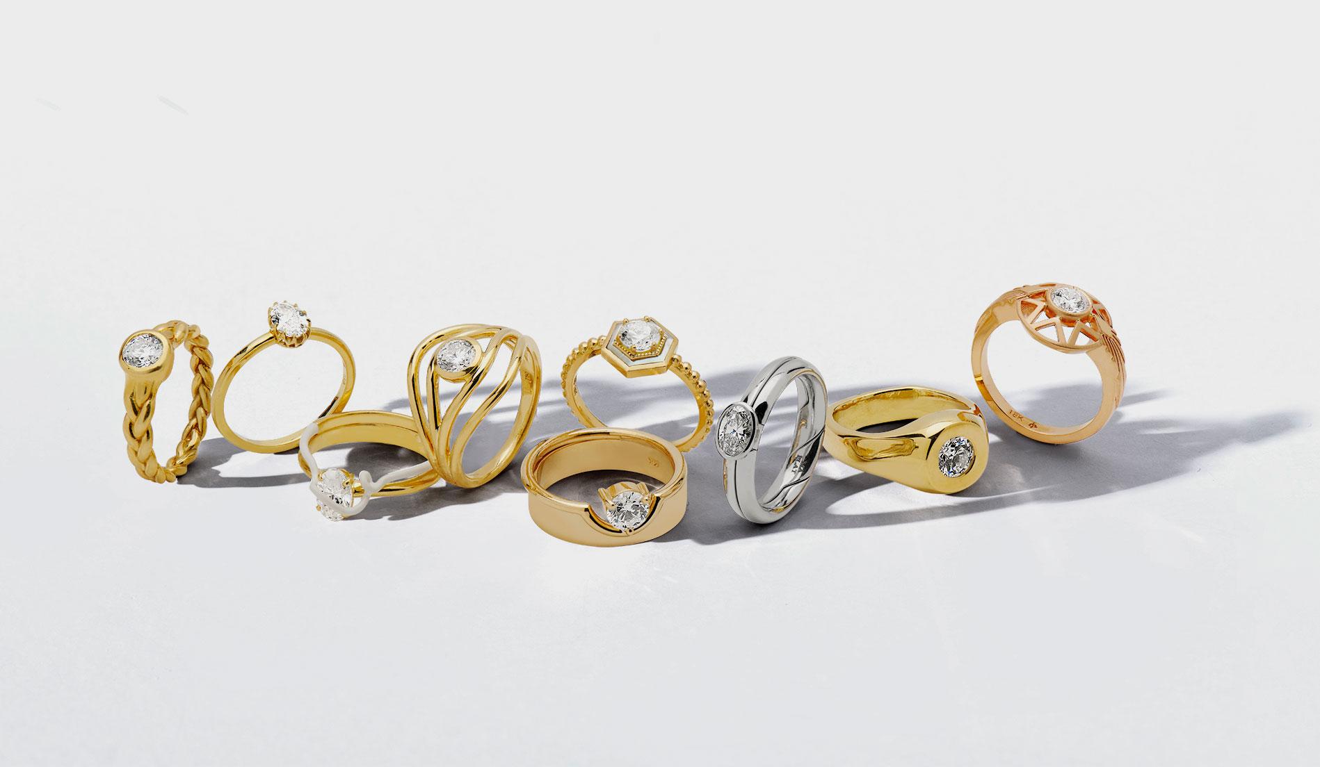 group shot of DeBeers rings