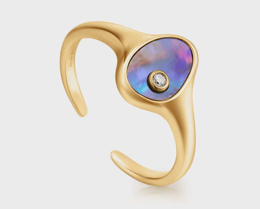 Ania Haie 14K gold plated ring with abalone.