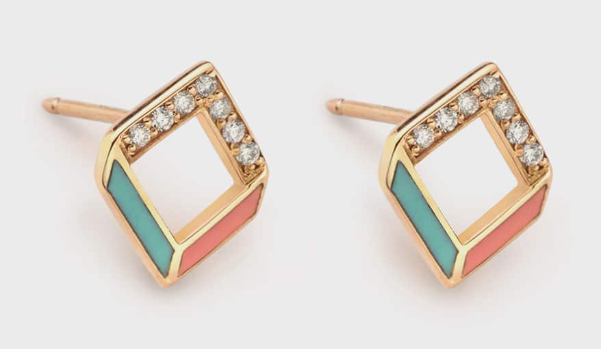 Chevron 14K rose gold earrings with diamonds and champleve enamel.