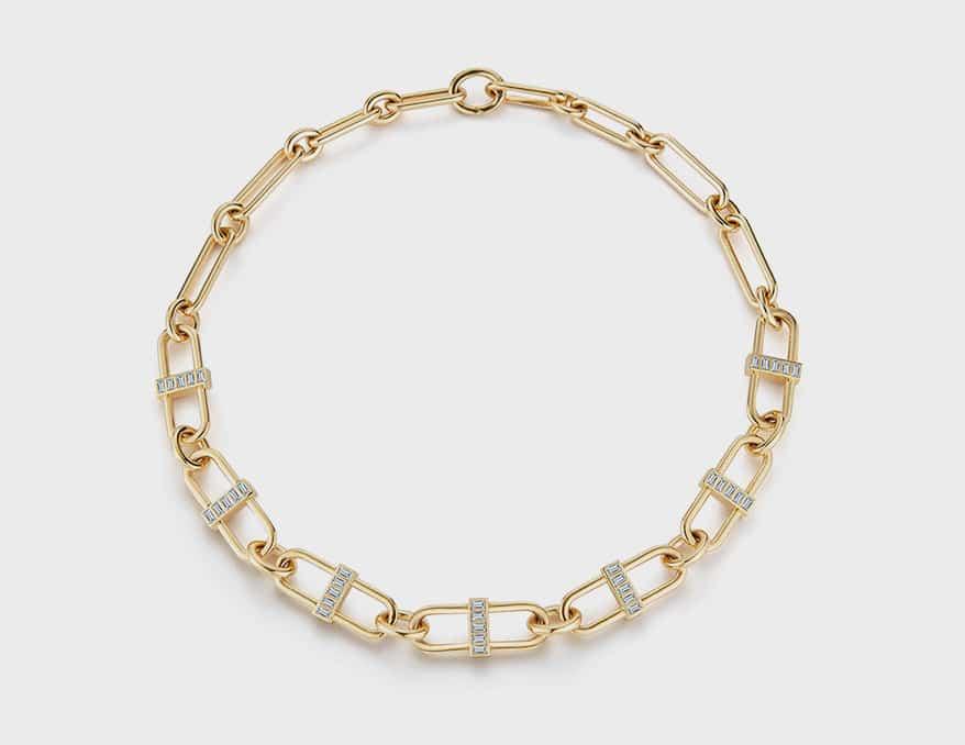 Deborah Pagani 18K yellow gold XL Pill Link necklace with diamond baguettes.