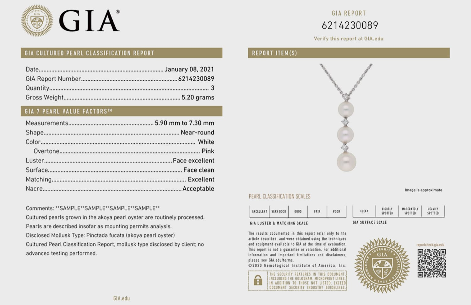 GIA Cultured Pearl Classification Report