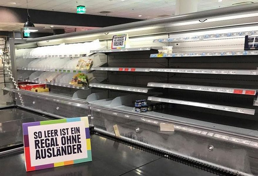 Edeka shelves empty of foreign products