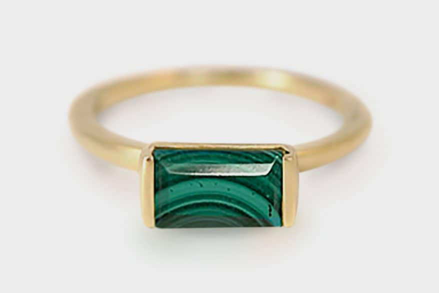 Emily Kuvin 14K yellow gold ring with malachite