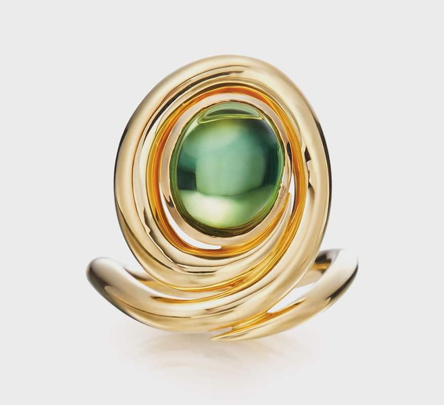 Gumuchian 18K yellow gold ring with green tourmaline.