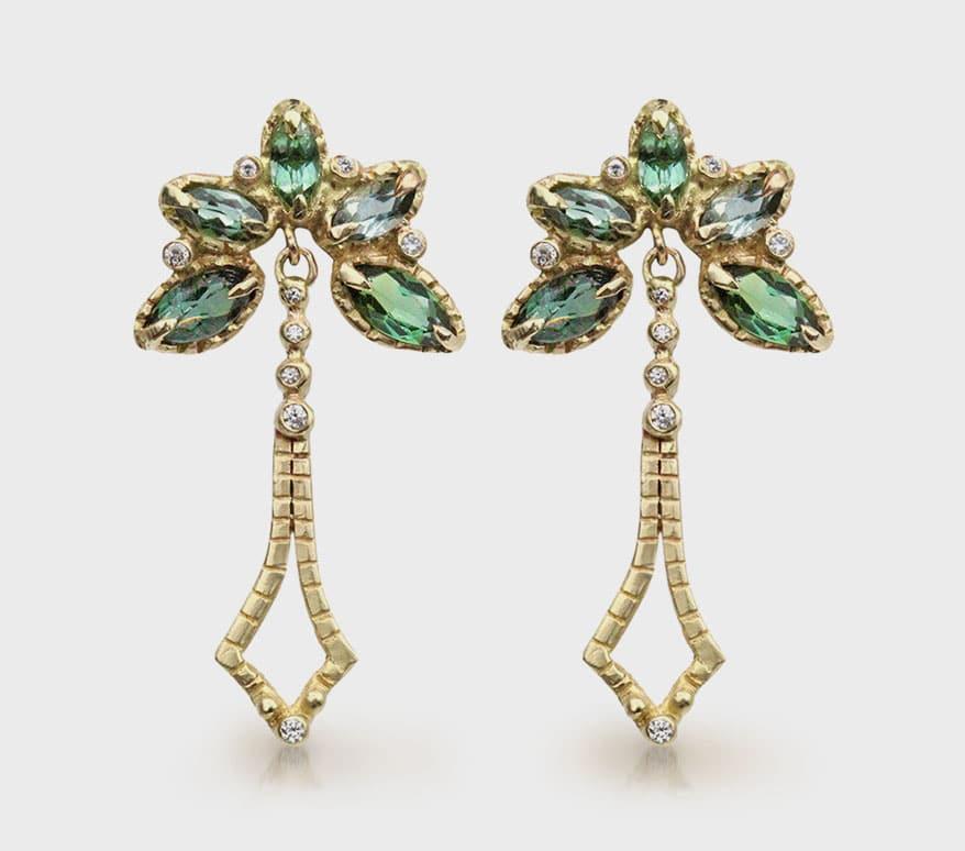 Hayley Elise Jewellery  14K yellow gold earrings with tourmaline and diamonds.