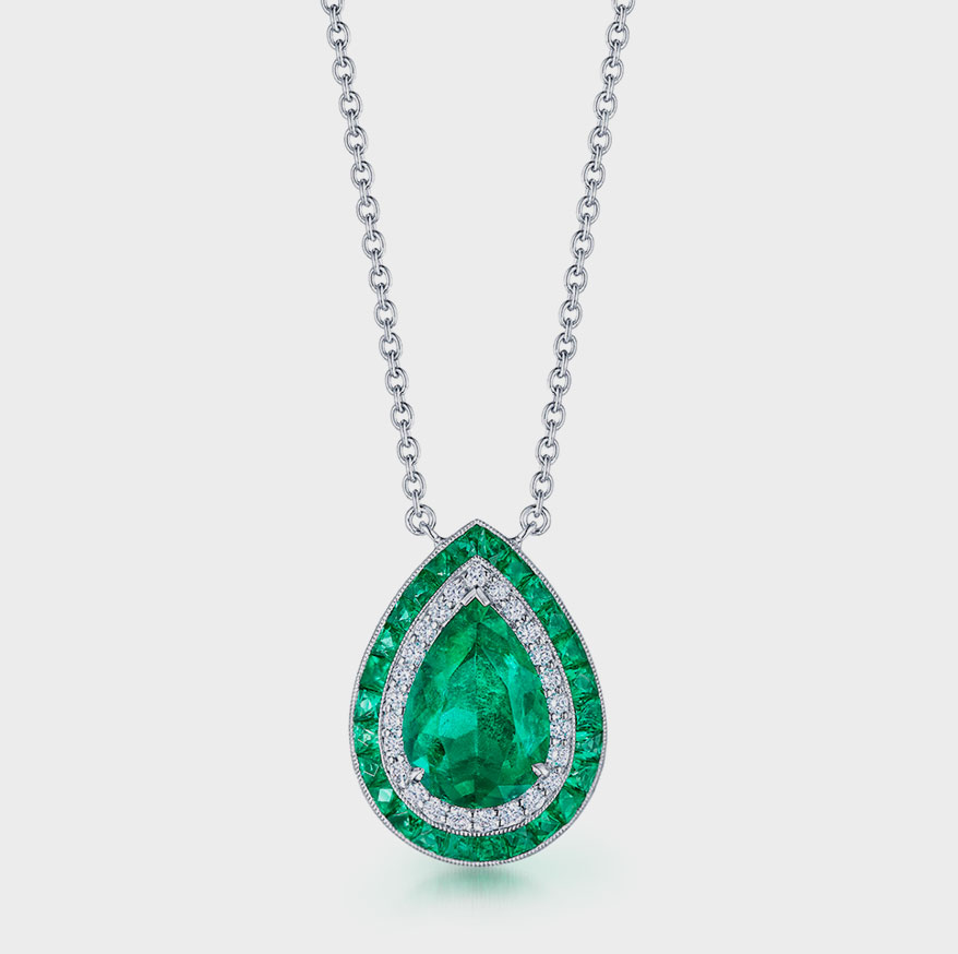 Kwiat Platinum necklace with Colombian emerald and diamonds.