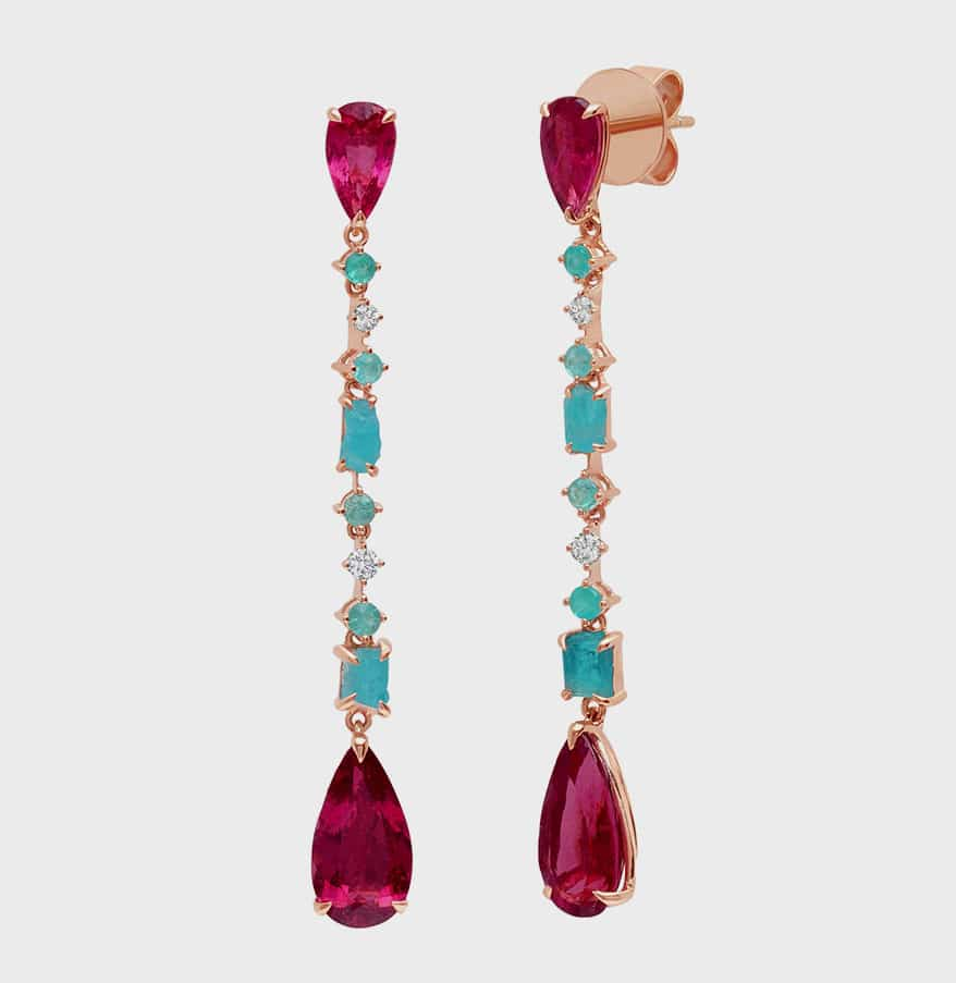 Graziela 18K rose gold earrings with rubellite, Paraiba tourmaline, and diamond.