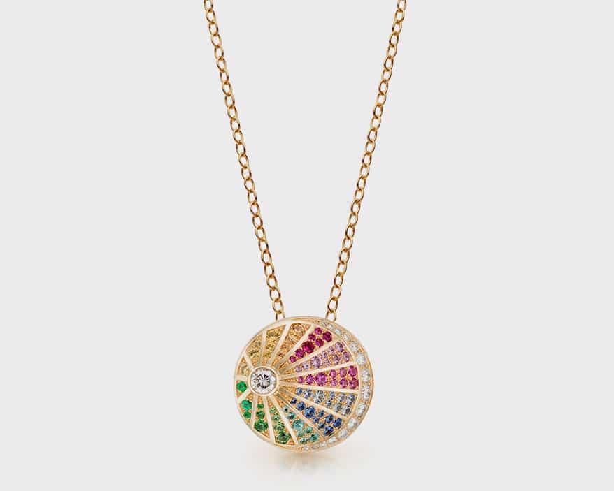 Nouvel Heritage  18K yellow gold, diamond, tourmaline, emerald, tsavorite and sapphire necklace.
