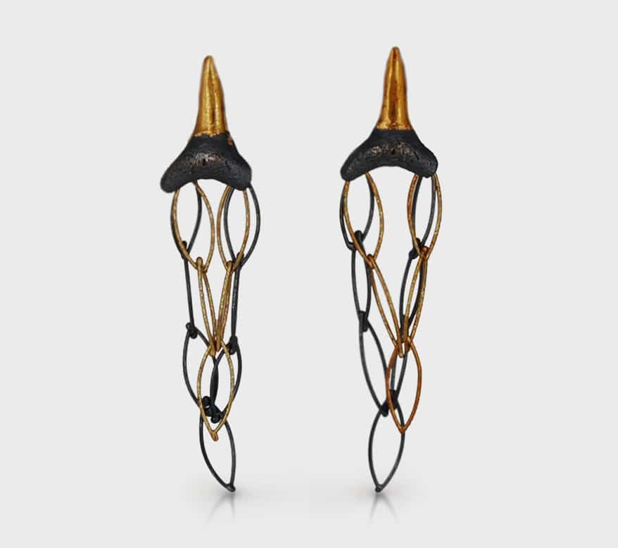Dianna B Designs 18K yellow gold, 24K yellow gold and sterling silver earrings with shark teeth.