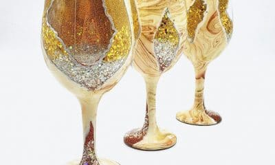 geode-inspired wine glasses by Paint From Scratch