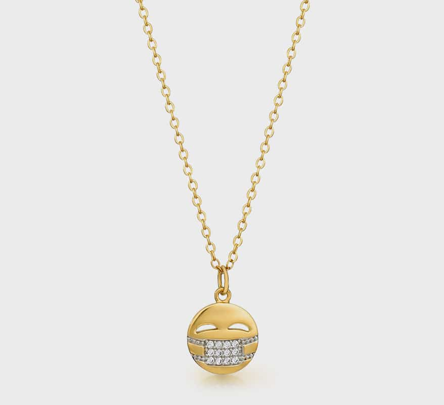 Coterie 18K yellow gold vermeil necklace with Swarovski crystals.