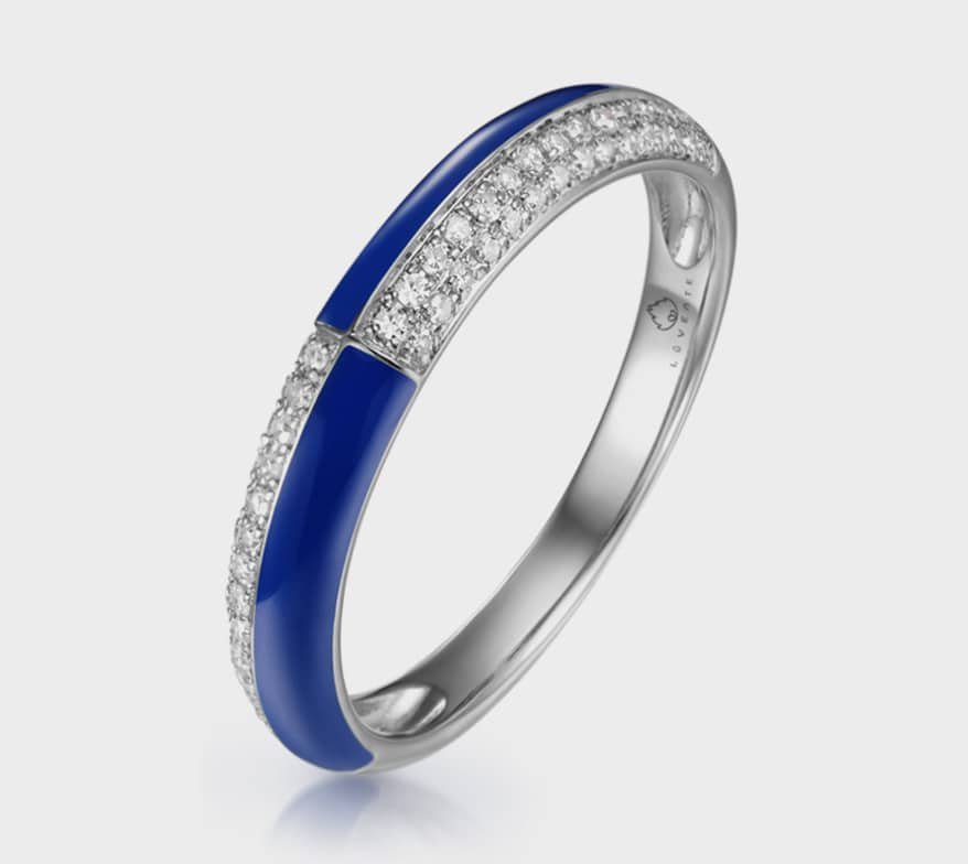 Luvente 14K white gold ring with blue enamel and diamonds