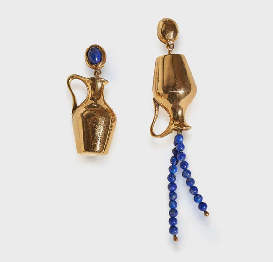 Pamela Love 14K yellow gold-plated brass earrings with lapis