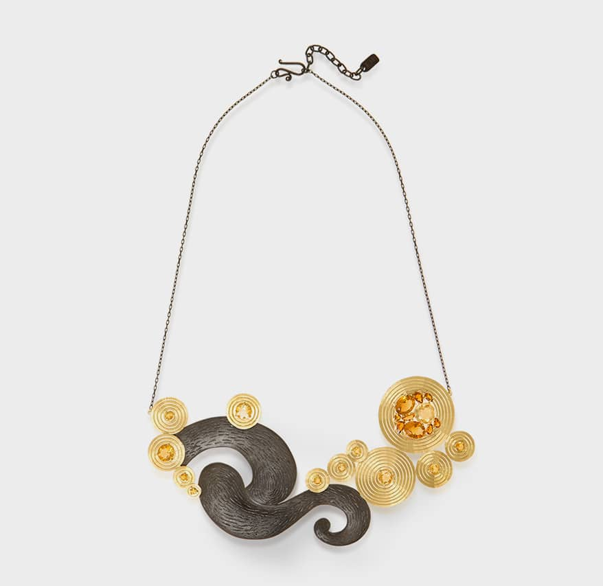 Larissa Moraes 18K yellow gold and silver necklace with citrine