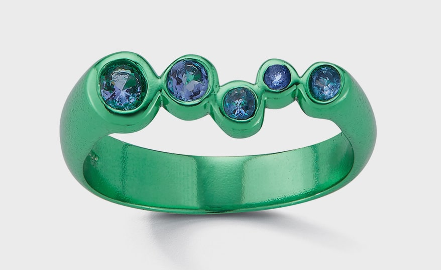 Hi June Parker Recycled sterling silver ring with emerald green color finish and tanzanite.