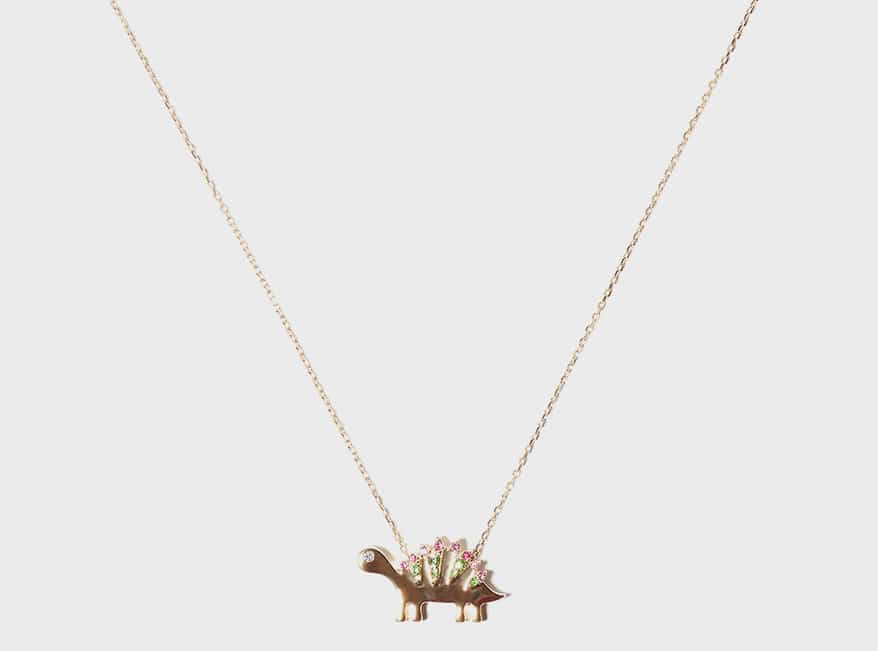 Campbell + Charlotte 14K yellow gold necklace with sapphires and tsavorite