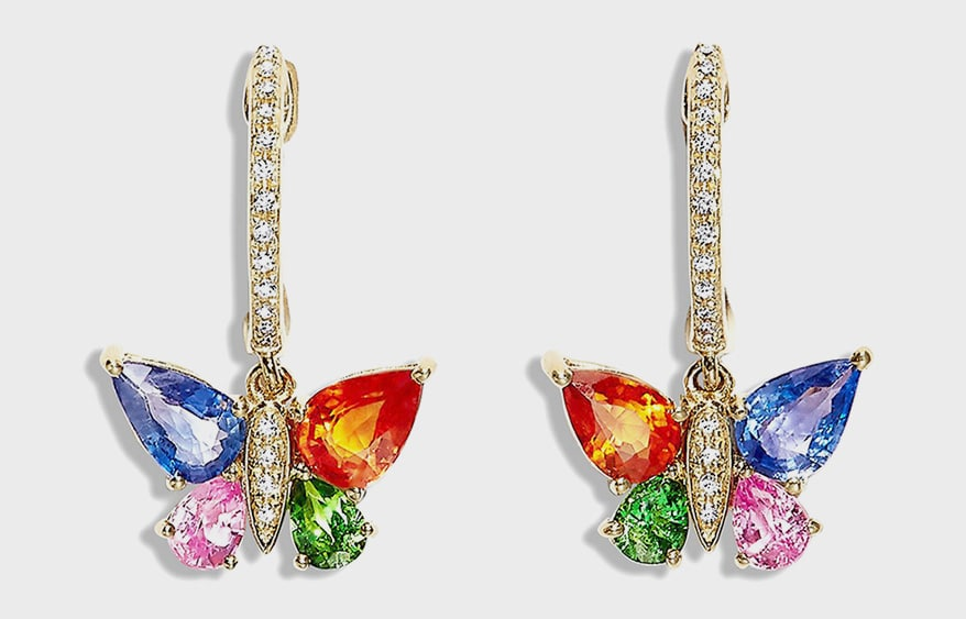 EFFY Jewelry 14K yellow gold earrings with diamonds and sapphires