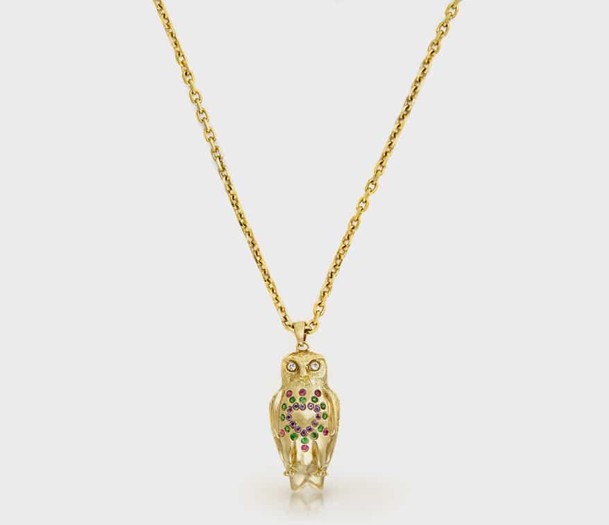 Onirikka 18K yellow gold pendant necklace with sapphires and diamonds