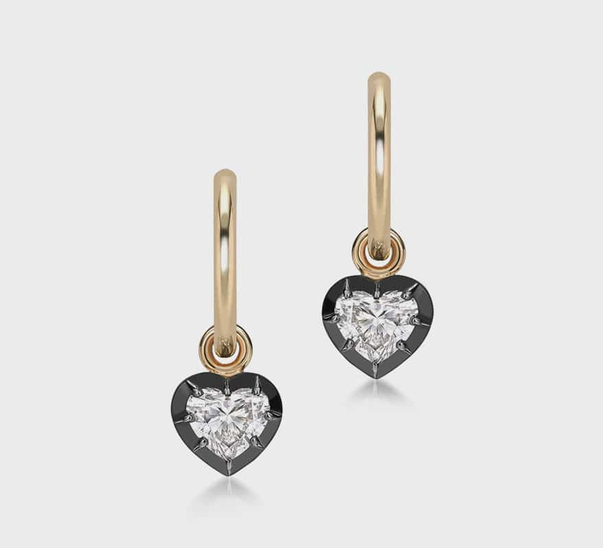 Jessica McCormack  Handcrafted earrings in blackened 18K white and yellow gold with diamonds (approx. 0.60 TCW).