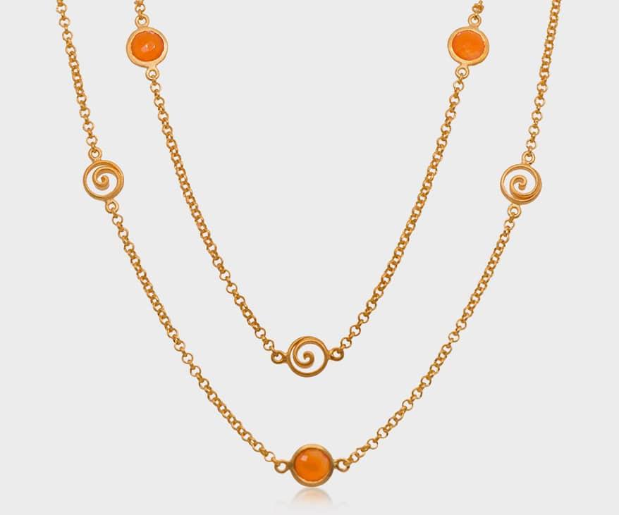 Joyla Jewelry' Gold vermeil necklace with carnelian.