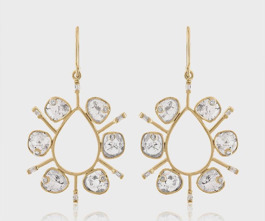 Loriann Jewelry 14K yellow gold earrings with diamonds (1.84 TCW).