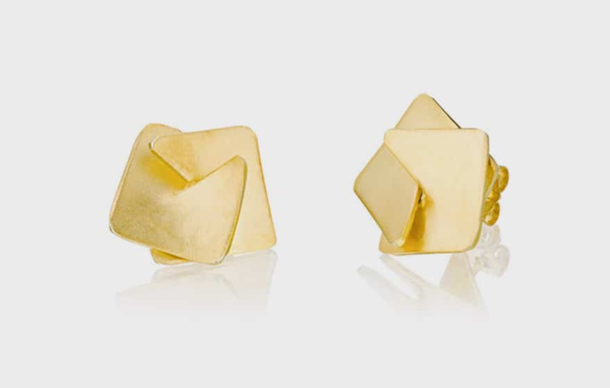 Ravit Kaplan Jewelry Sterling silver earrings with 18K gold plating.