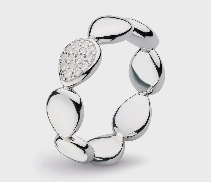 Kit Heath  Rhodium-plated sterling silver ring with cubic zirconia.