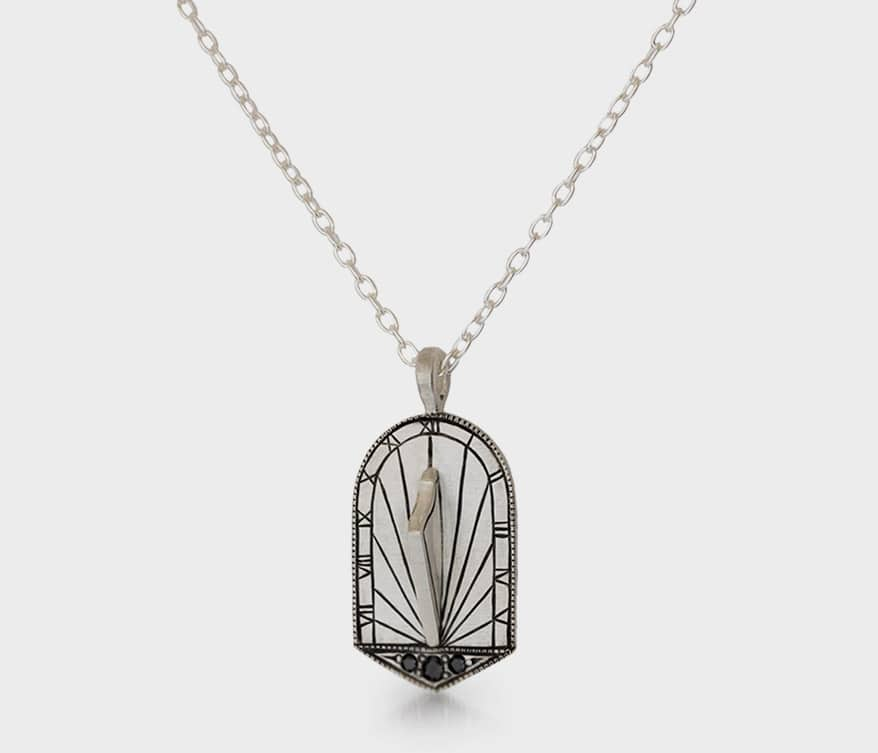 Melissa Scoppa  Sterling silver pendant necklace with black diamonds and hand engraving.