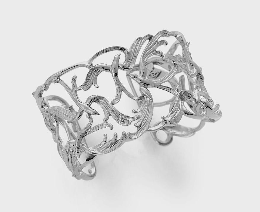 Stephanie Occhipinti Design  Sterling silver and rhodium cuff bracelet.