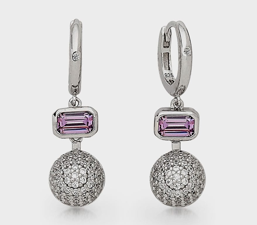Sterling Reputation  Sterling silver drop earrings with amethyst and rhodium finish.