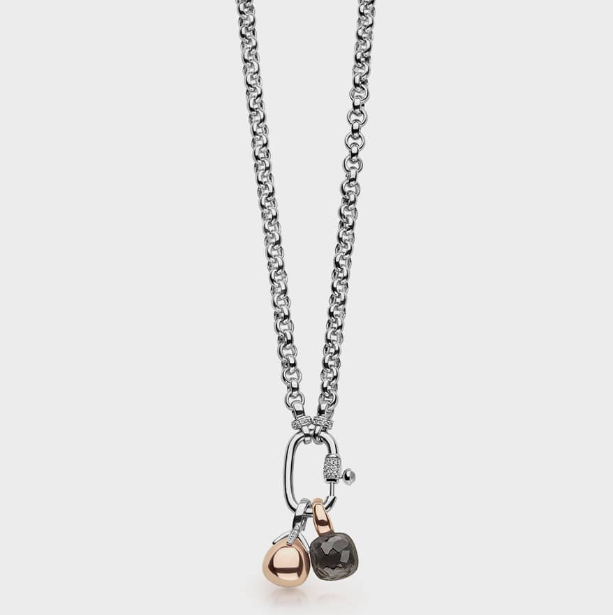 TI SENTO-Milano  Rhodium-plated sterling silver necklace with charms.