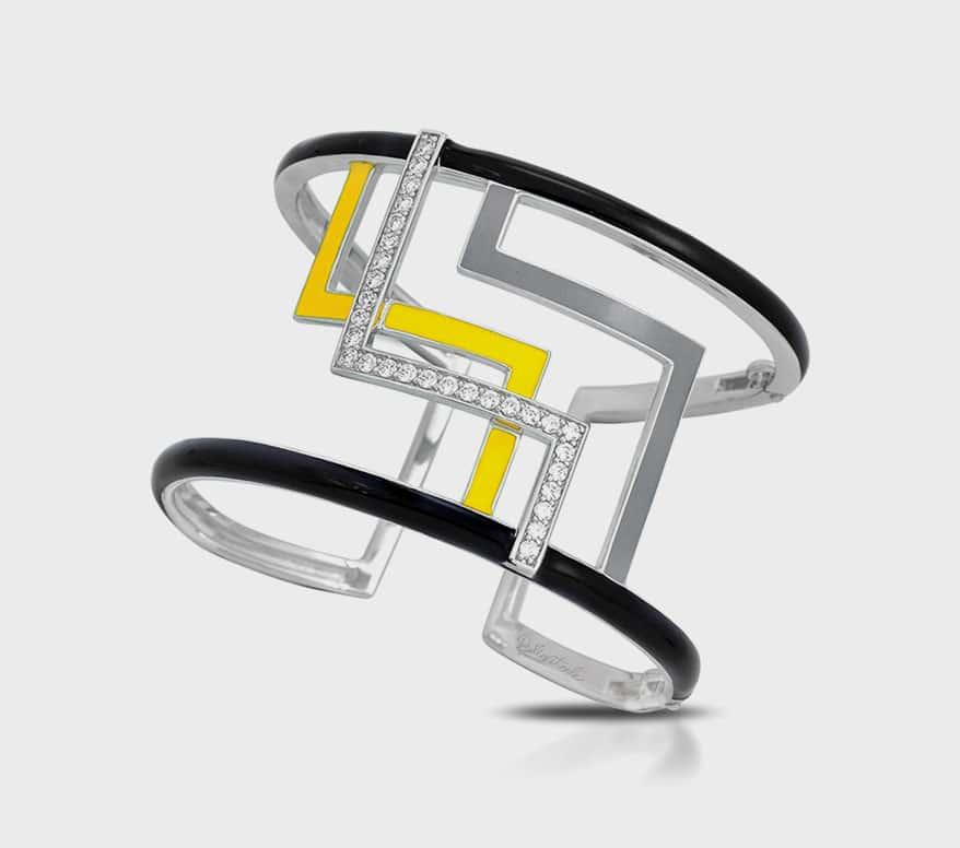 Belle Étoile  Sterling silver bangle bracelet with enamel and pavé-set stones.