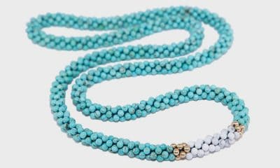 Park & Lex Necklace with turquoise, howlite, and gold-filled beads.
