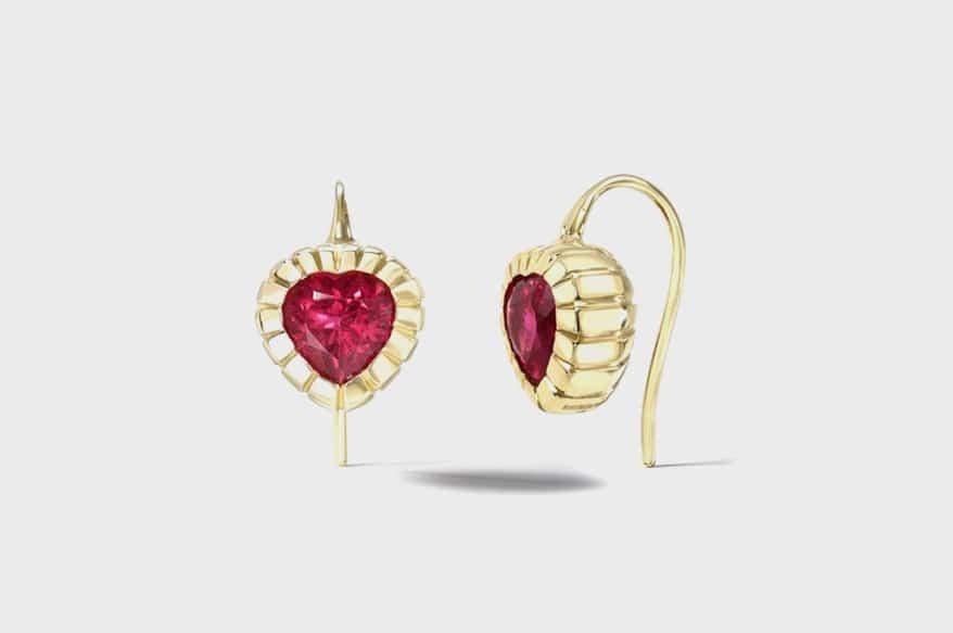 Retrouvai  Rubellite heirloom bezel set earrings (2.78 TCW).