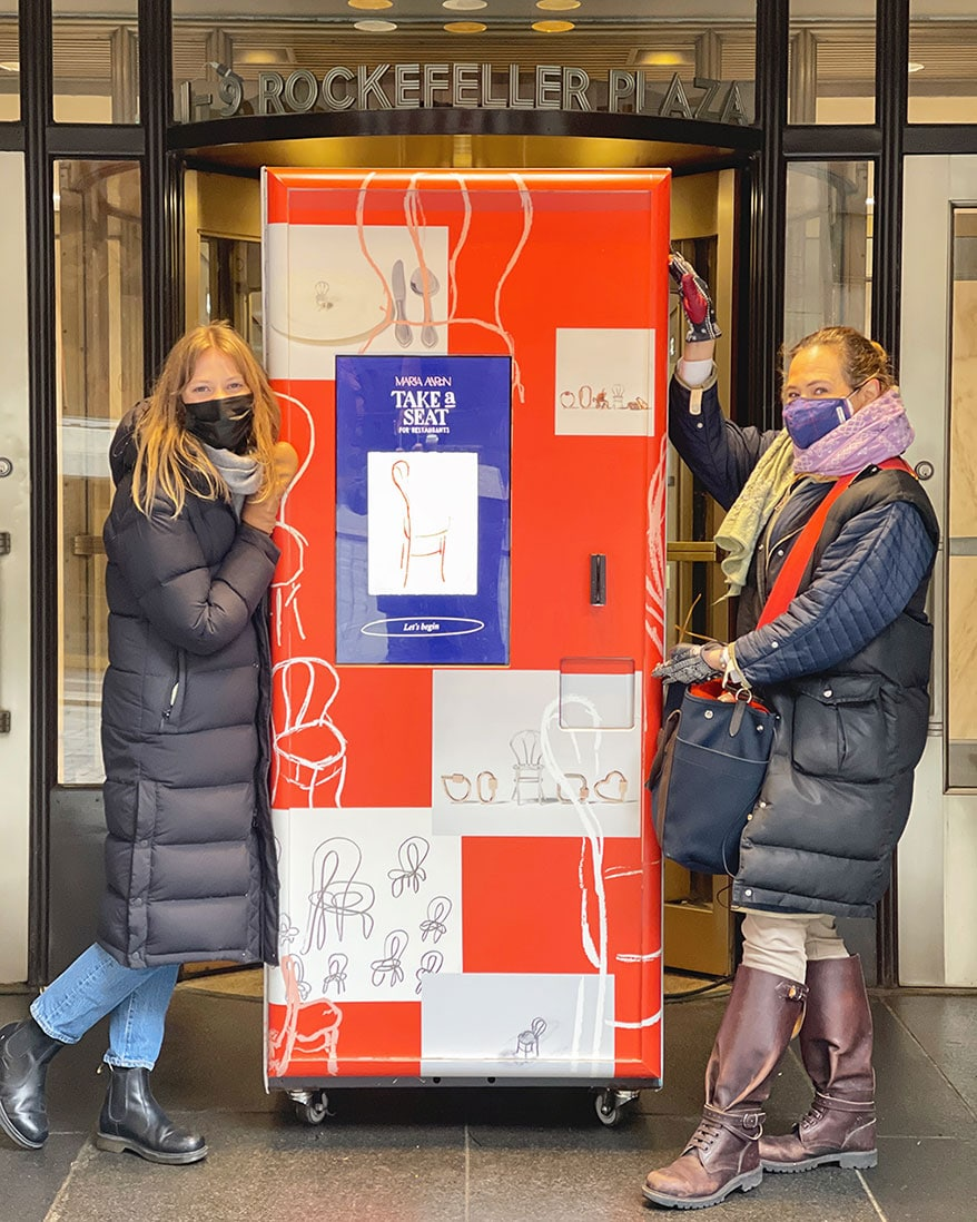 Marla Aaron and her team installed a pop-up vending machine in Rockefeller Plaza to sell charms benefiting local restaurant owners.