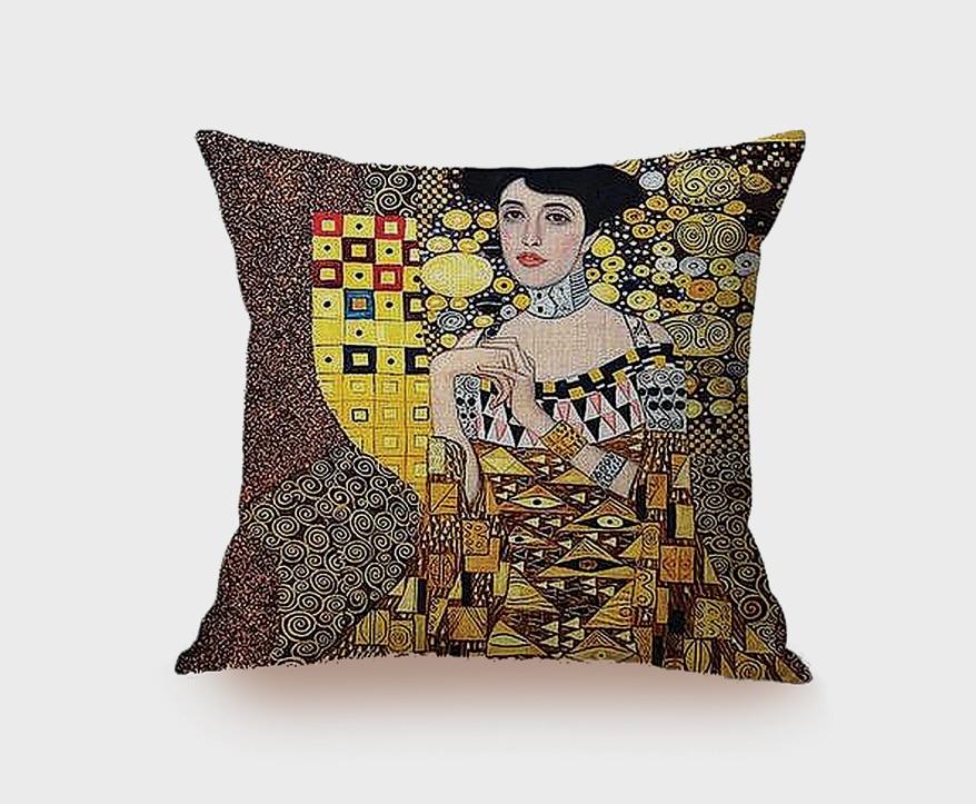 cushion cover that bears the lush golden artwork of GUSTAV KLIMT