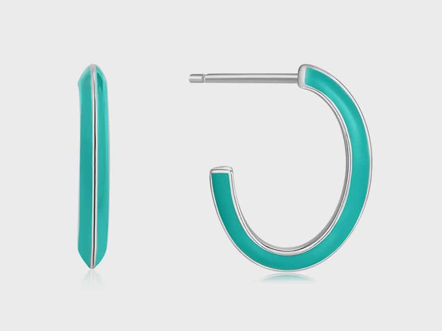 Silver earrings with enamel.