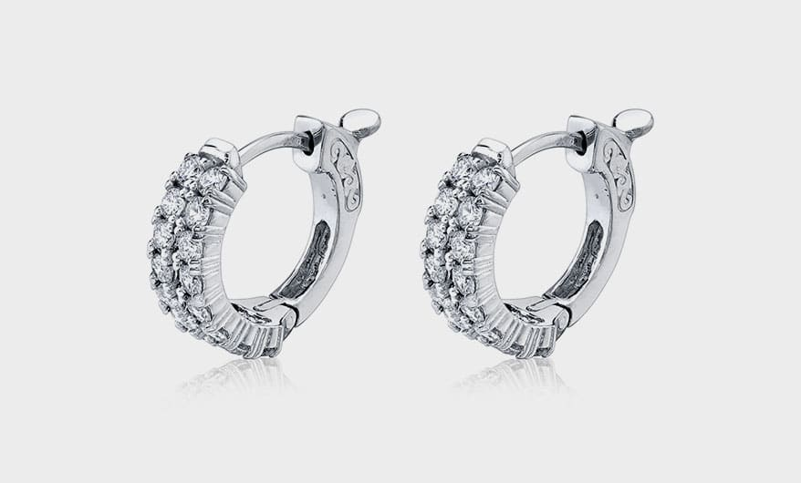Sylvie Collection 14K white gold earrings