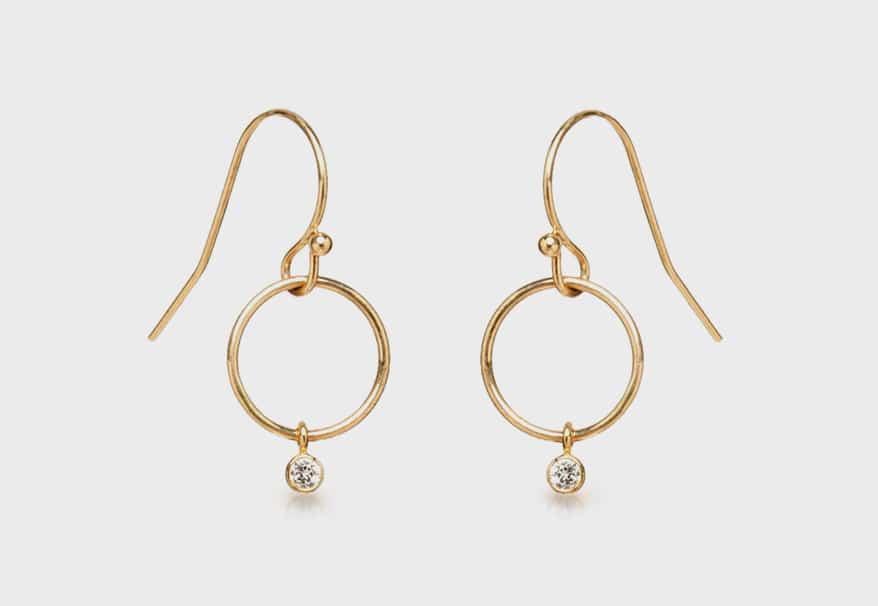 Zoe Chicco 14K gold diamond drop gypsy hoop earrings