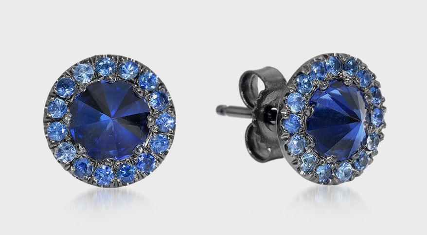 Edward Avedis 18K black gold earrings with sapphires.