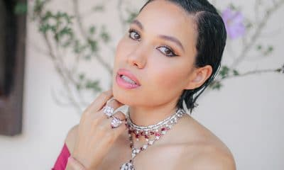 Jurnee Smollett in Bulgari High Jewelry rubies and diamonds, photo courtesy of Maria Jose Govea