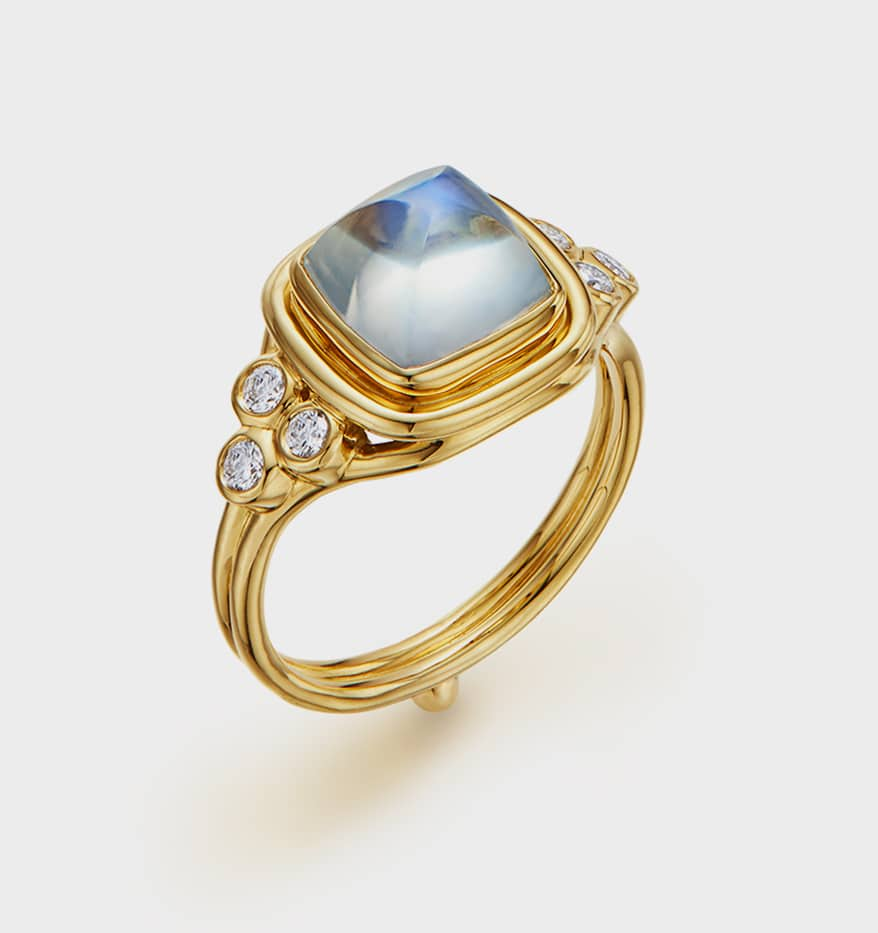 Temple St. Clair 18K gold sugarloaf cut blue moonstone ring with diamond accents