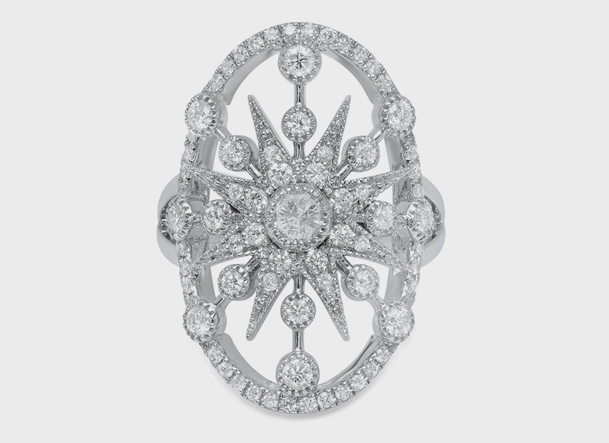 Colette 18K white gold Galaxia ring in white diamonds.