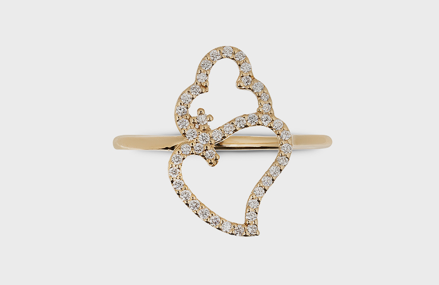 14K yellow gold ring with lab-grown diamonds.